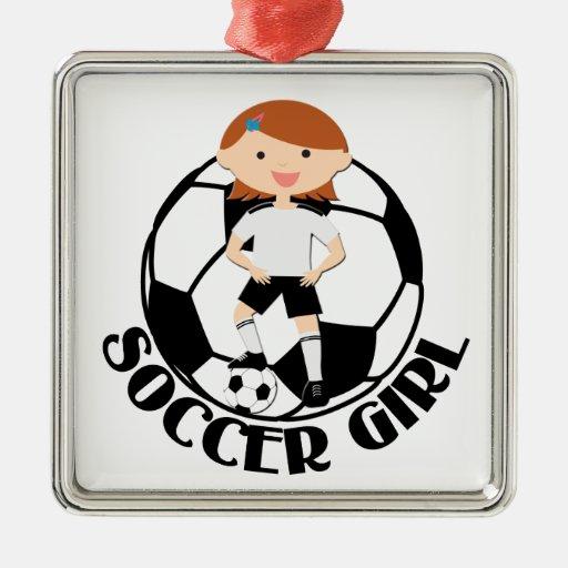 Soccer Girl 3 and Ball Black and White v2 Christmas Tree Ornaments