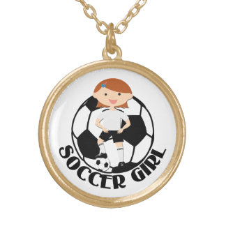 Soccer Girl 3 and Ball Black and White v2 Necklaces