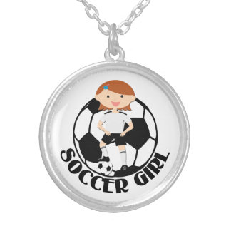 Soccer Girl 3 and Ball Black and White v2 Round Pendant Necklace