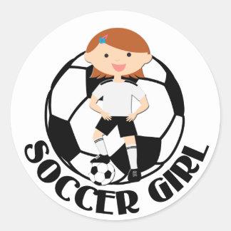 Soccer Girl 3 and Ball Black and White v2 Round Sticker