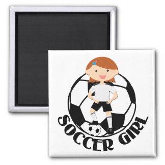 Soccer Girl 3 and Ball Black and White v2 Square Magnet