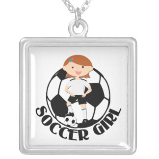Soccer Girl 3 and Ball Black and White v2 Square Pendant Necklace