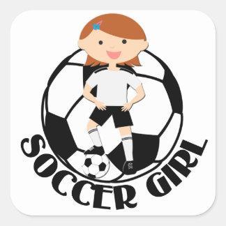 Soccer Girl 3 and Ball Black and White v2 Square Sticker