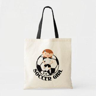 Soccer Girl 3 and Ball Black and White v2 Tote Bag