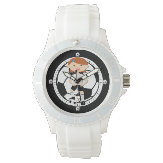 Soccer Girl 3 and Ball Black and White Watch