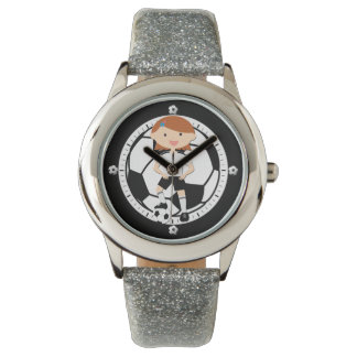 Soccer Girl 3 and Ball Black and White Wrist Watches