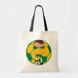 Soccer Girl 4 and Ball Green and Yellow Canvas Bags