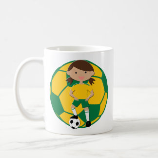 Soccer Girl 4 and Ball Green and Yellow Basic White Mug