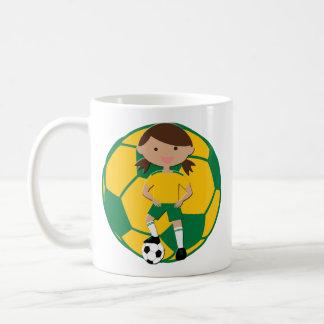 Soccer Girl 4 and Ball Green and Yellow Basic White Mug