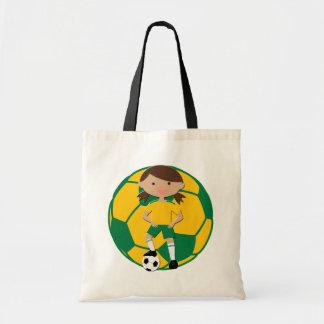 Soccer Girl 4 and Ball Green and Yellow Budget Tote Bag