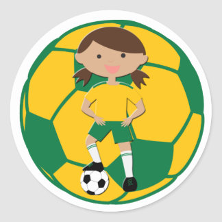 Soccer Girl 4 and Ball Green and Yellow Classic Round Sticker