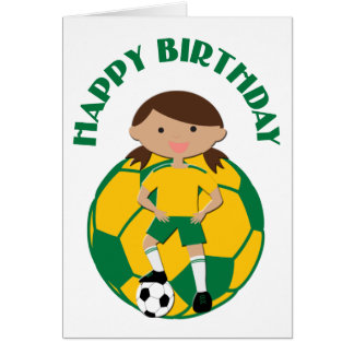 Soccer Girl 4 and Ball Green and Yellow Greeting Card
