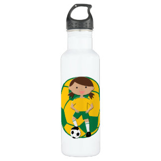 Soccer Girl 4 and Ball Green and Yellow 710 Ml Water Bottle