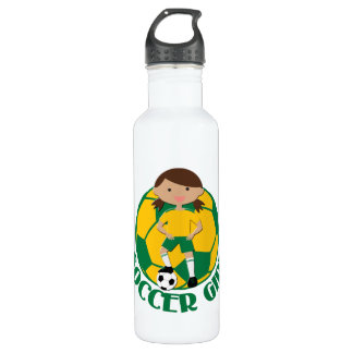Soccer Girl 4 and Ball Green and Yellow v2 710 Ml Water Bottle