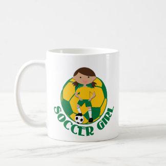 Soccer Girl 4 and Ball Green and Yellow v2 Basic White Mug