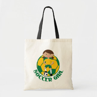 Soccer Girl 4 and Ball Green and Yellow v2 Budget Tote Bag