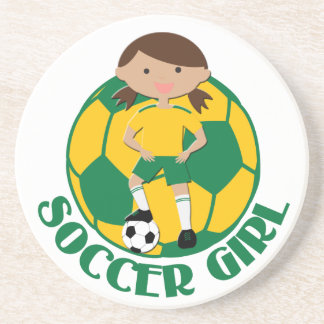 Soccer Girl 4 and Ball Green and Yellow v2 Coasters