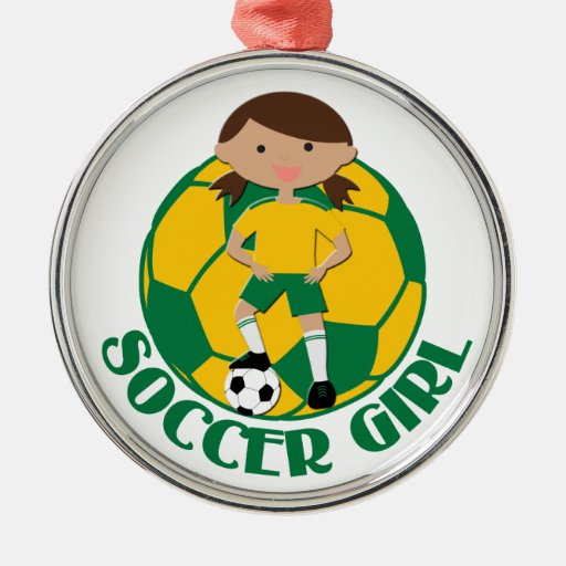 Soccer Girl 4 and Ball Green and Yellow v2 Ornament
