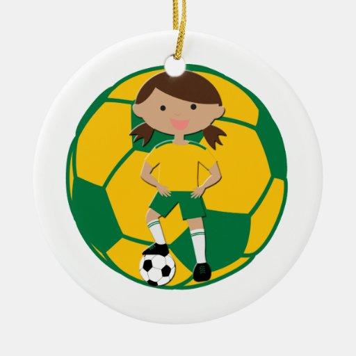 Soccer Girl 4 and Ball Green and Yellow v2 Christmas Tree Ornaments