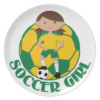 Soccer Girl 4 and Ball Green and Yellow v2 Dinner Plate