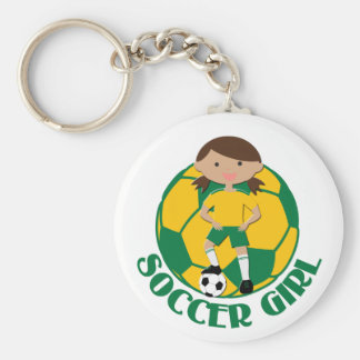 Soccer Girl 4 and Ball Green and Yellow v2 Keychains
