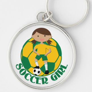Soccer Girl 4 and Ball Green and Yellow v2 Key Chains