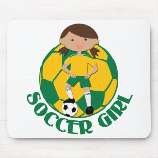Soccer Girl 4 and Ball Green and Yellow v2 Mouse Pad