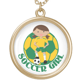 Soccer Girl 4 and Ball Green and Yellow v2 Round Pendant Necklace