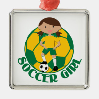 Soccer Girl 4 and Ball Green and Yellow v2 Silver-Colored Square Decoration