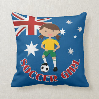 Soccer Girl 4 and Ball Green and Yellow v2 Throw Cushions