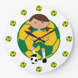 Soccer Girl 4 and Ball Green and Yellow Wall Clock