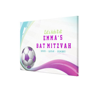 SOCCER GIRL Bat Mitzvah Sign-In Board Canvas Print
