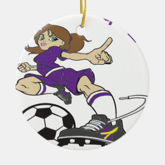 SOCCER GIRL PURPLE TEXT ROUND CERAMIC DECORATION