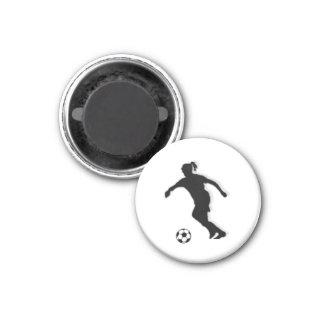 Soccer Girl TAG Player (Female) - White-R 3 Cm Round Magnet