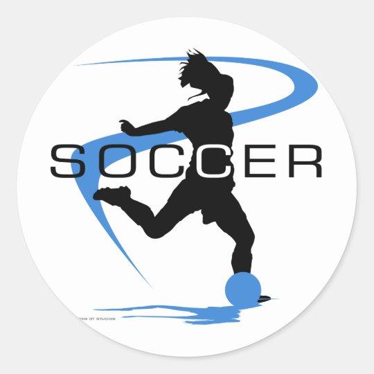 Soccer - Girls - Blue Classic Round Sticker