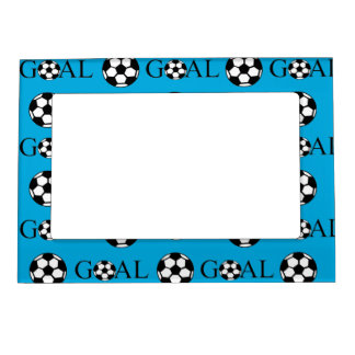 Soccer Goal Blue and White Picture Frame Magnet