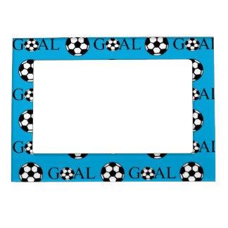 Soccer Goal Blue and White Magnetic Photo Frame