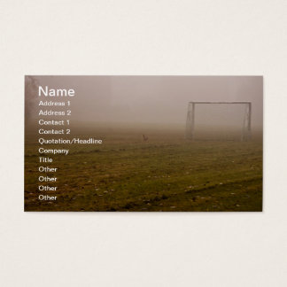 Soccer goal in fog business card