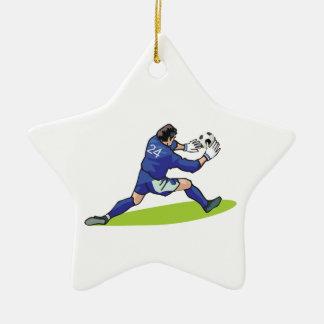 soccer goalie block graphic christmas ornament