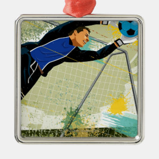 Soccer goalie blocking ball christmas ornament