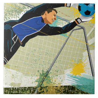 Soccer goalie blocking ball large square tile