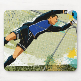 Soccer goalie blocking ball mouse pad