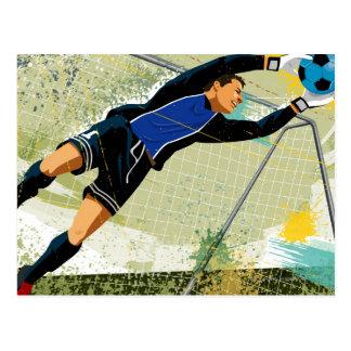 Soccer goalie blocking ball postcard