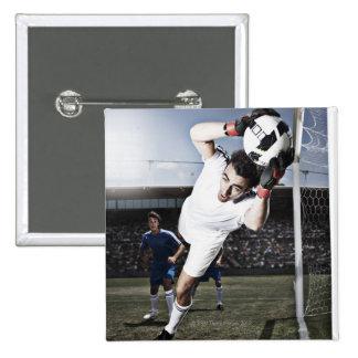 Soccer goalie catching soccer ball 15 cm square badge