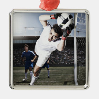 Soccer goalie catching soccer ball christmas ornament
