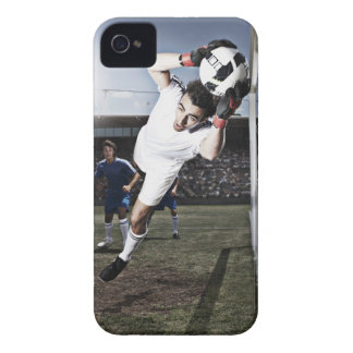 Soccer goalie catching soccer ball iPhone 4 Case-Mate case