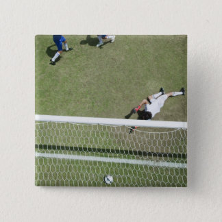 Soccer goalie missing soccer ball 15 cm square badge