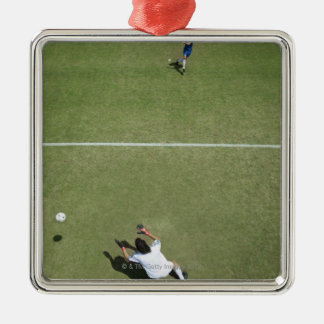 Soccer goalie missing soccer ball 2 Silver-Colored square decoration