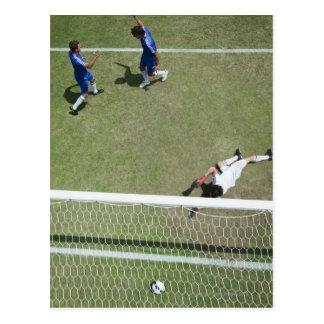 Soccer goalie missing soccer ball postcard