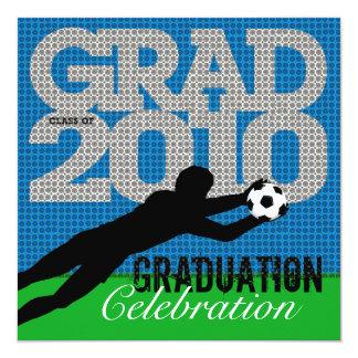 """Soccer Graduation Party 1 Invitation 5.25"""" Square Invitation Card"""